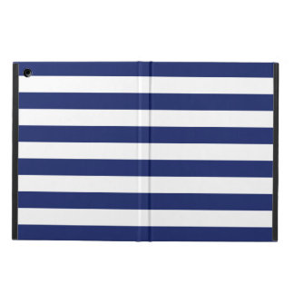 Navy Blue and White Stripe Pattern Cover For iPad Air