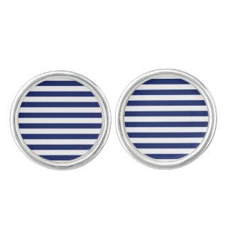 Navy Blue and White Stripe Pattern Cufflinks