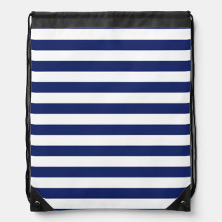 Navy Blue and White Stripe Pattern Drawstring Bag