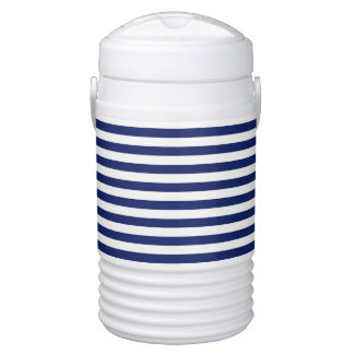 Navy Blue and White Stripe Pattern Drinks Cooler
