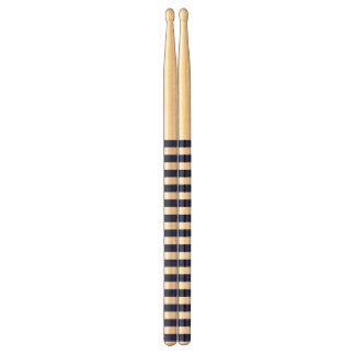 Navy Blue and White Stripe Pattern Drumsticks