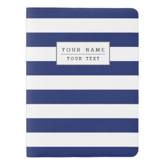 Navy Blue and White Stripe Pattern Extra Large Moleskine Notebook
