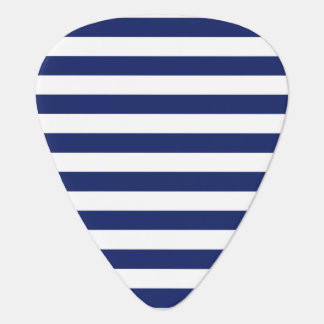 Navy Blue and White Stripe Pattern Guitar Pick