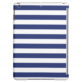 Navy Blue and White Stripe Pattern iPad Air Cover