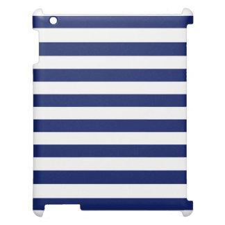 Navy Blue and White Stripe Pattern iPad Case