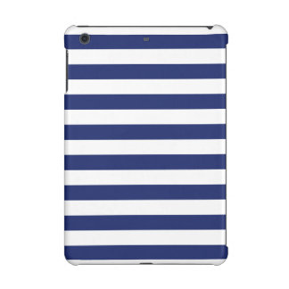 Navy Blue and White Stripe Pattern iPad Mini Cases
