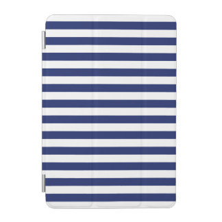 Navy Blue and White Stripe Pattern iPad Mini Cover