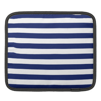 Navy Blue and White Stripe Pattern iPad Sleeve
