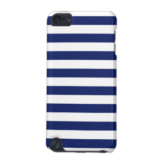Navy Blue and White Stripe Pattern iPod Touch (5th Generation) Cases