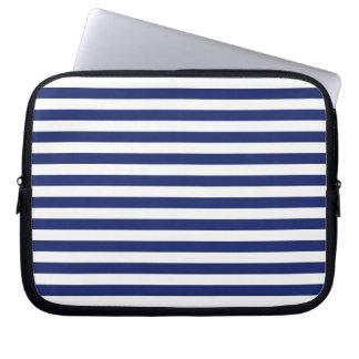 Navy Blue and White Stripe Pattern Laptop Sleeve