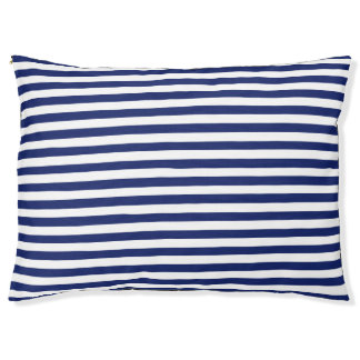 Navy Blue and White Stripe Pattern Large Dog Bed
