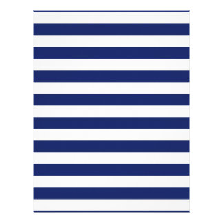Navy Blue and White Stripe Pattern Letterhead