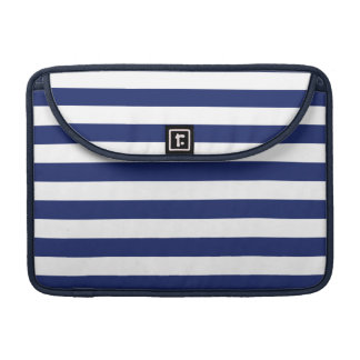 Navy Blue and White Stripe Pattern MacBook Pro Sleeves