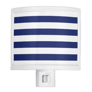 Navy Blue and White Stripe Pattern Night Lite