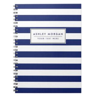 Navy Blue and White Stripe Pattern Notebooks