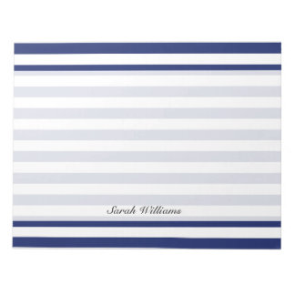 Navy Blue and White Stripe Pattern Notepad