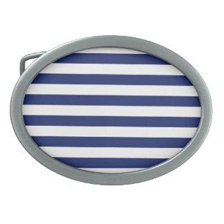 Navy Blue and White Stripe Pattern Oval Belt Buckles