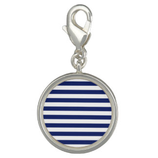 Navy Blue and White Stripe Pattern Photo Charms