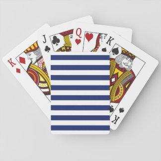 Navy Blue and White Stripe Pattern Poker Deck