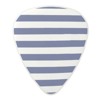 Navy Blue and White Stripe Pattern Polycarbonate Guitar Pick