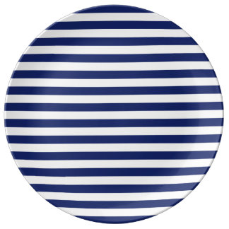 Navy Blue and White Stripe Pattern Porcelain Plate