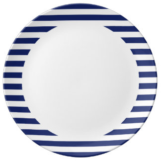 Navy Blue and White Stripe Pattern Porcelain Plates
