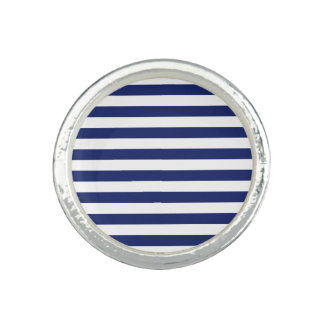 Navy Blue and White Stripe Pattern Ring