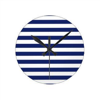 Navy Blue and White Stripe Pattern Round Clock