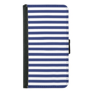 Navy Blue and White Stripe Pattern Samsung Galaxy S5 Wallet Case