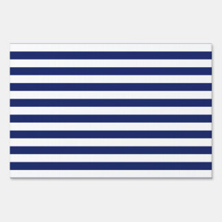 Navy Blue and White Stripe Pattern Sign