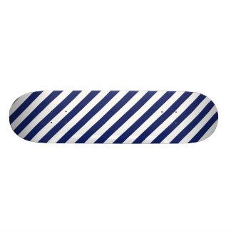 Navy Blue and White Stripe Pattern Skate Board