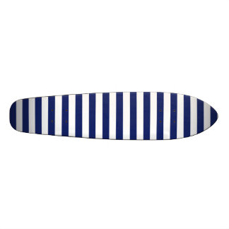 Navy Blue and White Stripe Pattern Skateboard Deck