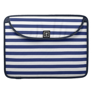 Navy Blue and White Stripe Pattern Sleeve For MacBooks