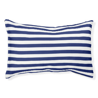 Navy Blue and White Stripe Pattern Small Dog Bed