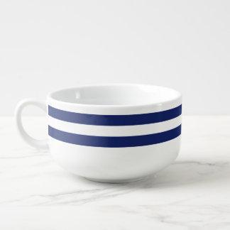 Navy Blue and White Stripe Pattern Soup Mug
