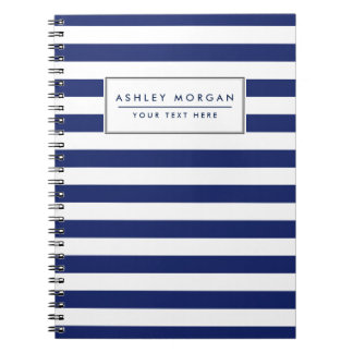 Navy Blue and White Stripe Pattern Spiral Notebook