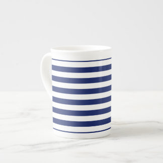 Navy Blue and White Stripe Pattern Tea Cup