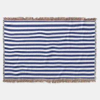 Navy Blue and White Stripe Pattern Throw Blanket