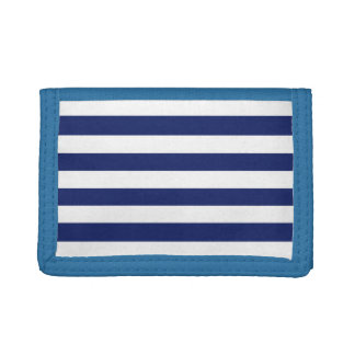 Navy Blue and White Stripe Pattern Trifold Wallet