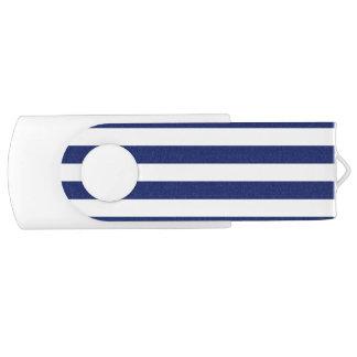 Navy Blue and White Stripe Pattern USB Flash Drive
