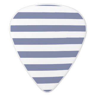 Navy Blue and White Stripe Pattern White Delrin Guitar Pick