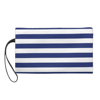Navy Blue and White Stripe Pattern Wristlet
