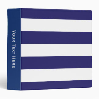Navy Blue and White Striped Binder
