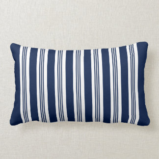 Navy Blue and White Striped Lumbar Pillow