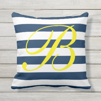 Navy blue and white striped outdoor throw pillow
