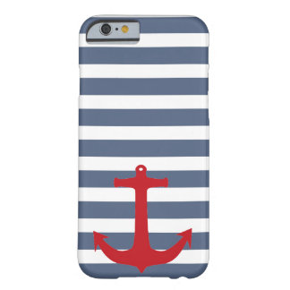 Navy Blue and White Striped Red Anchor Phone Case