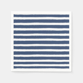 Navy Blue and White Stripes Paper Napkins