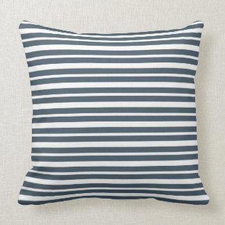 Navy Blue and White Stripes Throw Pillows