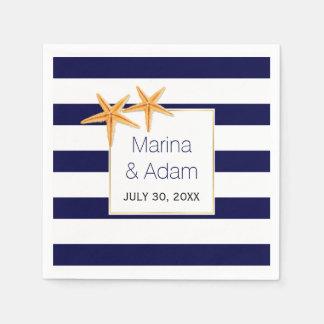 Navy blue and white stripes starfish wedding paper napkin