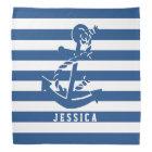 Navy Blue And White Stripes With Nautical Anchor Bandana
